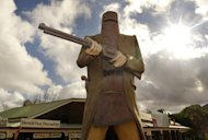 File photo of a giant statue of Australian outlaw Ned Kelly at Glenrowan, the location of his final stand, 175kms north of Melbourne. Everyone but Ned Kelly -- wearing his iconic home-made plate metal armour and helmet -- was killed in the showdown