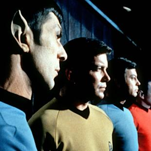 "FILE- This undated file photo shows actors in the TV series ""Star Trek,"" from left, Leonard Nimoy as Commander Spock, William Shatner as Captain Kirk, DeForest Kelley as Doctor McCoy and James Doohan as Commander Scott. Nimoy, famous for playing officer Mr. Spock in ""Star Trek"" died Friday, Feb. 27, 2015 in Los Angeles of end-stage chronic obstructive pulmonary disease. He was 83. (AP Photo/Paramount Television ,File)"