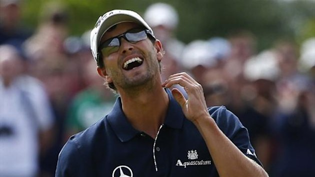 Adam Scott of Australia reacts after his bogey putt on the sixth green during the final round of the British Open golf championship at Royal Lytham & St Annes (Reuters)