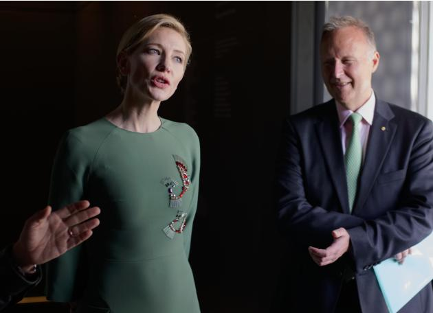 Actress Cate Blanchett attends the inauguration of the Australian pavilion 'Wrong Way Time' displaying installations by Australian artist  Fiona Hall, during the 56th Biennale of Arts in Venic