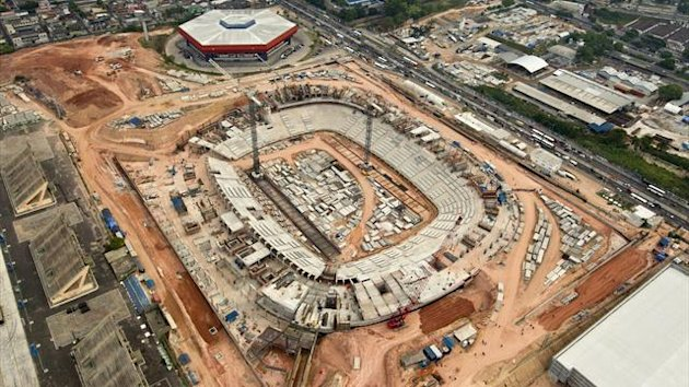 An aerial view shows the construction site of the Arena da Amazonia, or Vivaldo Lima Stadium, as it is rebuilt to host the 2014 World Cup (Reuters)