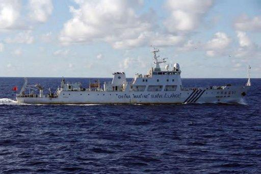 This handout picture, taken by the Japan Guard on September 14, shows a Chinese marine surveillance ship cruising near the Senkaku island in Japanese, or Diaoyu Islands in Chinese, in East China Sea. Six Chinese ships sailed into waters around a disputed archipelago, with Beijing saying they were there for 'law enforcement' around islands Japan nationalised earlier this week.