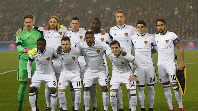FC Basel players pose for a team group photo before the match