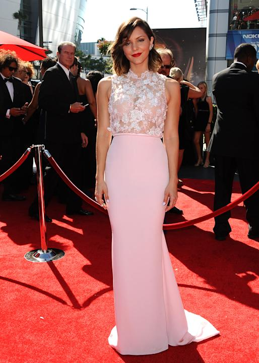 Katharine McPhee arrives at the 2013 Primetime Creative Arts Emmy Awards, on Sunday, September 15, 2013 at Nokia Theatre L.A. Live, in Los Angeles, Calif. (Photo by Scott Kirkland/Invision for Academy