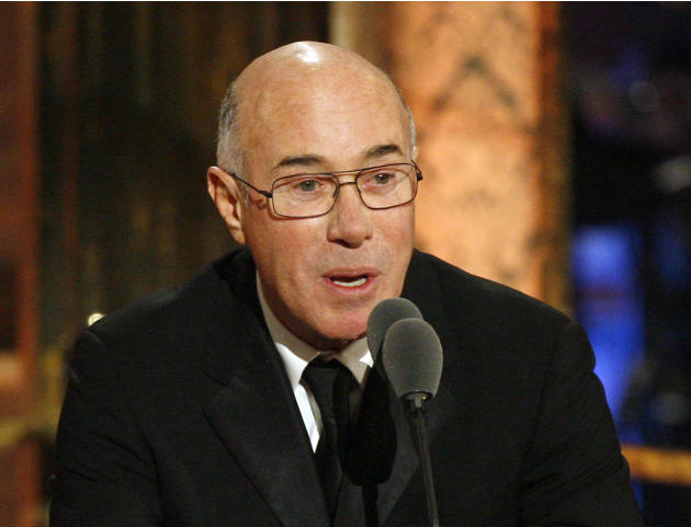FILE - This March 15, 2010 file photo shows music and movie mogul David Geffen speaking during the Rock and Roll Hall of Fame induction ceremony in New York. Geffen has donated $100 million to New Yor