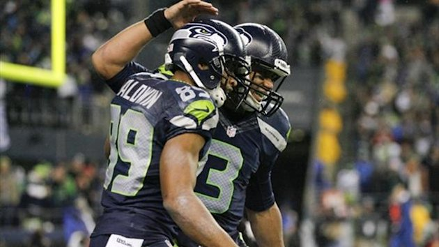 Seattle Seahawks quarterback Russell Wilson (3) celebrates with wide receiver Doug Baldwin (89) (Reuters)