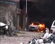 An image taken from a video uploaded on YouTube allegedly shows a vehicle that was destroyed as Syrian forces shelled the Qusur neighbourhood on April 5. AFP cannot independently verify this image. Syria on Sunday demanded guarantees that armed groups cease fire before withdrawing its troops from protest hubs as agreed with special envoy Kofi Annan, even as a UN truce deadline loomed
