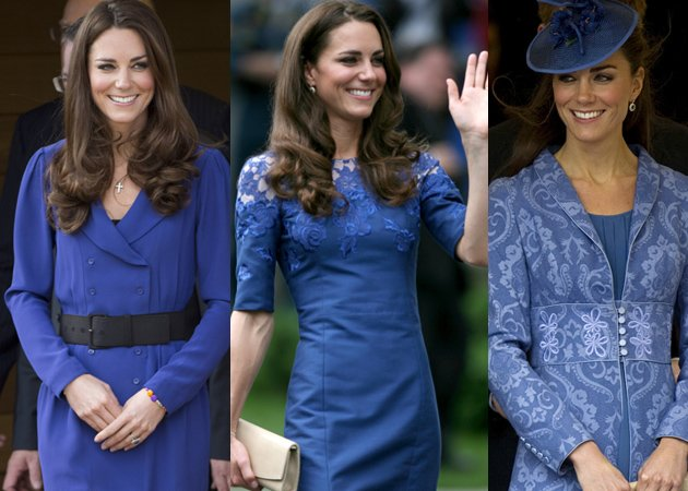 Kate Middleton in blue dresses