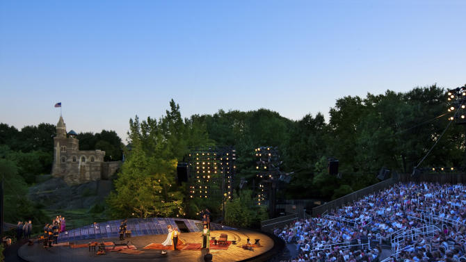 "In this 2010 photo provided by the Public Theater, people watch a performance of ""The Winter's Tale,"" at the Delacorte Theater in New York's Central Park. This summer, The Public Theater is celebrating the 50th anniversary of the Delacorte, home of its free Shakespeare in the Park program _ a beloved staple for both actors and audience. (AP Photo/Public Theater, Joseph Moran)"