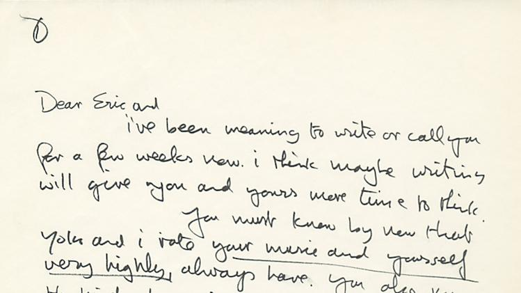 This undated photo provided by Profiles in History shows the first page of a hand written letter from John Lennon to Eric Clapton. The two-page letter is expected to draw between $20 thousand to $30 thousand during an online and phone auction by Profiles in History on Tuesday, Dec. 18, 2012. (AP Photo/Profiles in History)