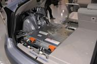 A lithium-ion battery is installed under the trunk space of Toyota Motors' Prius