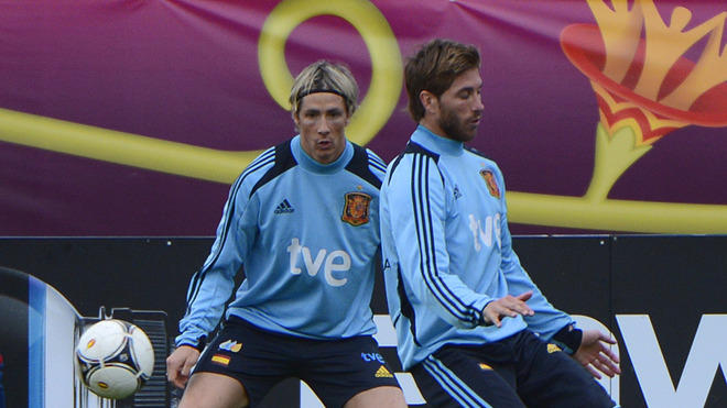 Spanish Forward Fernando Torres (L) And Spanish Defender Sergio Ramos Attend A Training Session In Gniewino On June 20, AFP/Getty Images