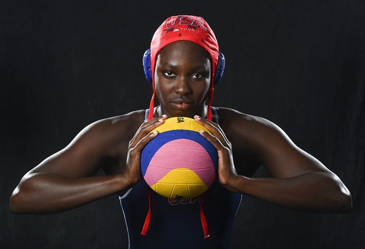 LOS ANGELES, CA - MARCH 9: U.S. water polo player Ashleigh Johnson at the Olympic media summit on March 9, 2016 in Los Angeles, CA. (Jonathan Newton / The Washington Post via Getty Images)