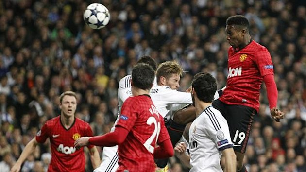 Manchester United's Danny Welbeck (R) scores the opening goal against Real Madrid (Reuters)