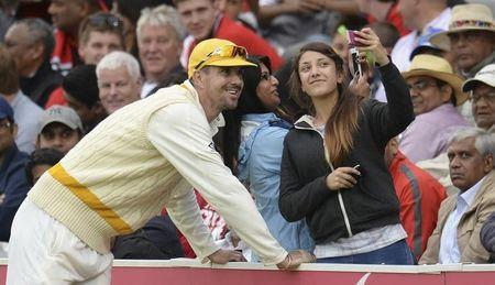 Rest of the World's Pietersen poses for a photograph during a cricket match against MCC to celebrate 200 years of Lord's at Lord's cricket ground in London