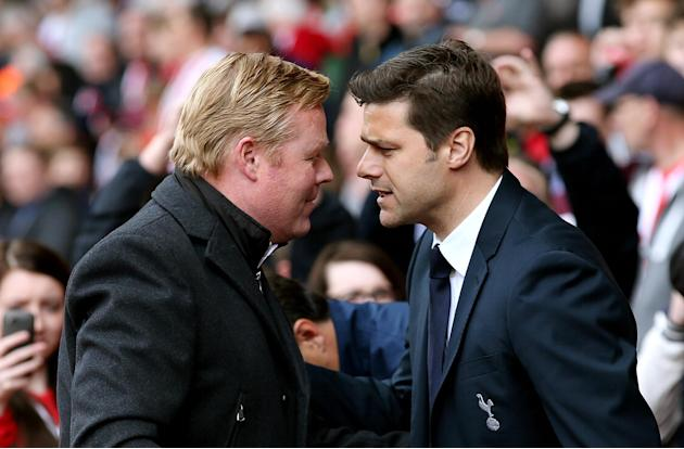 Football: Tottenham manager Mauricio Pochettino with Southampton manager Ronald Koeman before the game