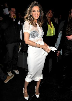 Sarah Jessica Parker Flashes Black Bra in Sheer Lace Top