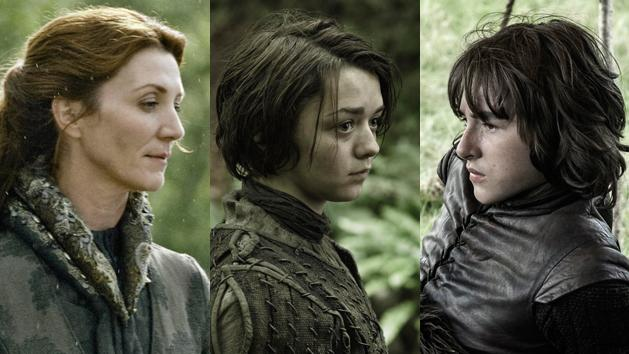 """""""Game of Thrones"""" Michelle Fairley, Maisie Williams and Isaac Hempstead"""