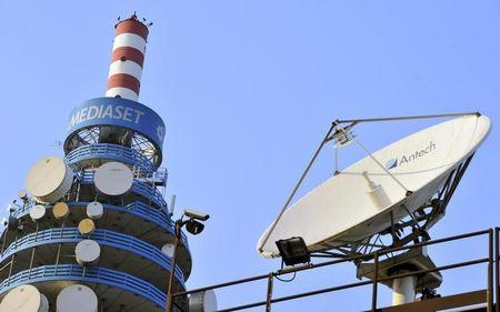 Mediaset tower is seen in neighbourhood Milan
