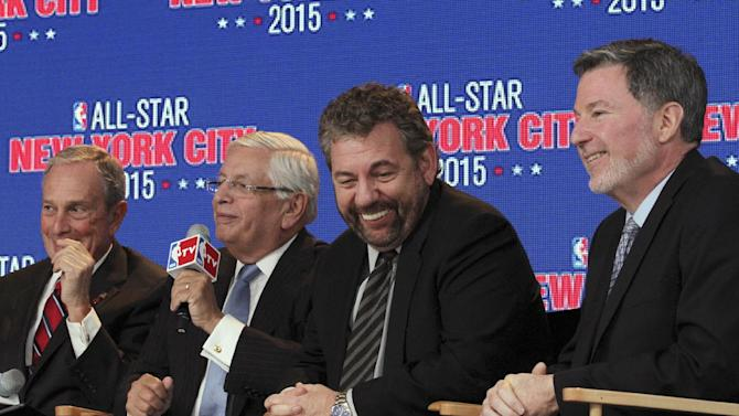From left, New York Mayor Michael Bloomberg; NBA Commissioner David Stern; James L. Dolan, executive chairman of Madison Square Garden; and Hank J. Ratner, president and CEO of the garden, smile during a news conference Wednesday Sept. 25, 2013, in New York announcing the selection of New York to host NBA All-Star 2015. The 64th NBA All-Star game is scheduled to be played at New York's Madison Square Garden on Sunday, Feb. 15, 2015 with Friday and Saturday night events being held at the Barclays Center in the Brooklyn borough of New York