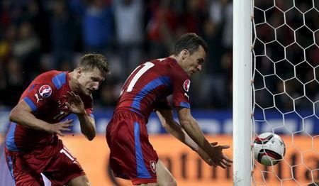Czech Republic's Skoda and Lafata react during their Euro 2016 qualifying soccer match against Kazakhstan in Plzen