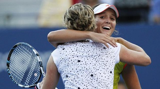 Laura Robson of Britain is congratulated by Kim Clijsters of Belgium (L) after their women's singles match at the US Open (Reuters)