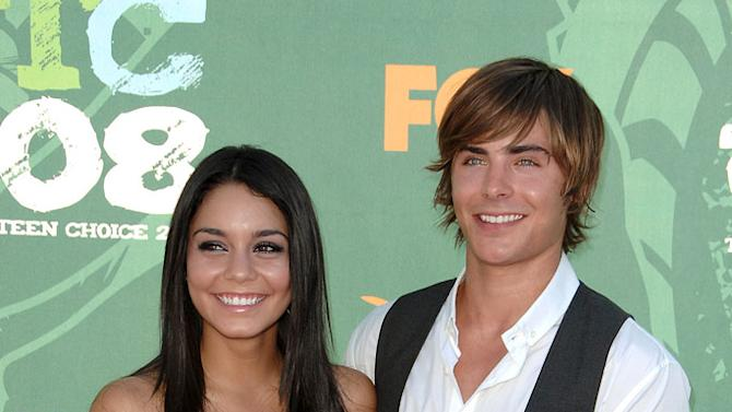 Vanessa Anne Hudgens and Zac Efron arrive at the 2008 Teen Choice Awards at Gibson Amphitheater on August 3, 2008 in Los Angeles, California.