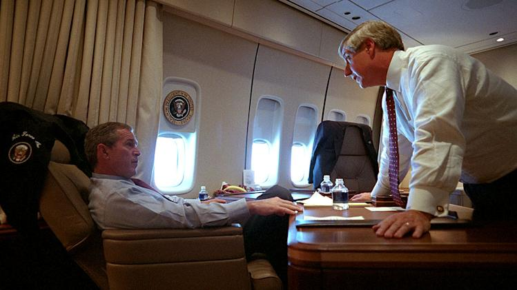 "President George W. Bush speaks with White House Chief of Staff Andy Card Tuesday, Sept. 11, 2001, aboard Air Force One as seen on ""George W. Bush:  The 9/11 Interview."""