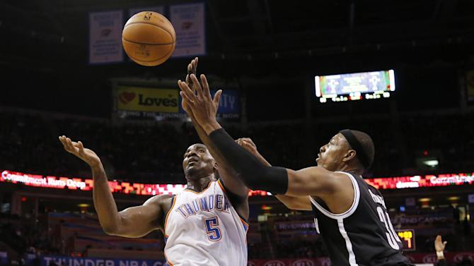 Oklahoma City Thunder center Kendrick Perkins (5) and Brooklyn Nets forward Paul Pierce (34) reach for a loose ball in the third quarter of an NBA basketball game in Oklahoma City, Thursday, Jan. 2, 2014. Oklahoma City won 95-93