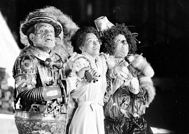 """FILE - In this Oct. 4, 1977 file photo, Diana Ross, center, as Dorothy, Michael Jackson, right, as Scarecrow, and Nipsey Russell as Tinman, perform during filming of the musical """"The Wiz"""" in"""