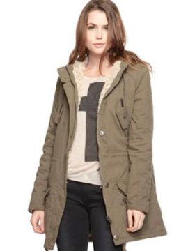 Faux fur cargo coat