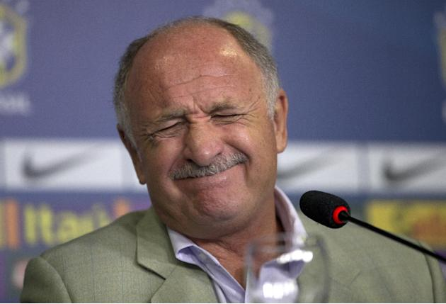 Brazil's soccer coach Luiz Felipe Scolari gestures during a press conference to announce his list of players for an upcoming friendly match with South Africa in Rio de Janeiro, Brazil, Tuesday, Fe