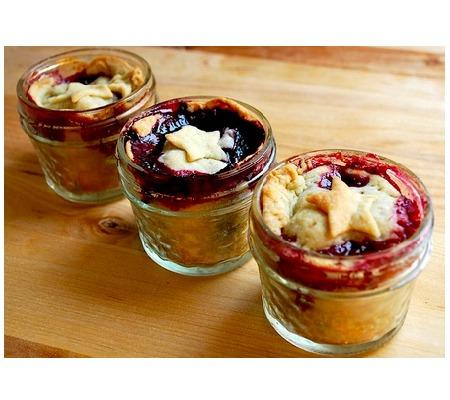Tiny Blueberry Star Pies in Jars