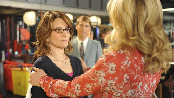 """This image released by NBC shows Tina Fey as Liz Lemon, left, and Jane Krakowski as Jenna Maroney in a scene from the series finale of """"30 Rock,"""" airing Thursday, Jan. 31, 2013 on NBC. (AP Photo/NBC,  Ali Goldstein)"""
