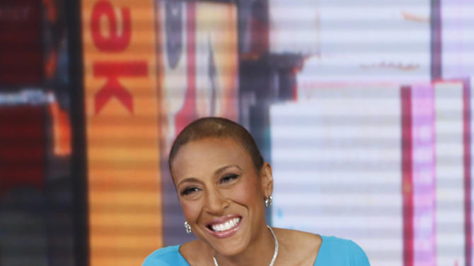"""FILE - This image released by ABC shows anchor Robin Roberts during a broadcast of """"Good Morning America,"""" Feb. 20, 2013 in New York.  Roberts is resting at home and off """"Good Morning America"""" this week after another hospital stay as part of her recuperation from a rare blood disease. The ABC News morning show host said she felt ill last week while on vacation and was told to return to New York and go to the hospital to fight off an infection. She's home now, and posted on Facebook on Thursday, April 18, that she's feeling much better. Roberts underwent a bone marrow transplant last September to treat MDS, a blood and bone marrow disease.  (AP Photo/ABC, Heidi Gutman)"""