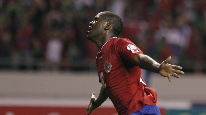 Costa Rica's Joel Campbell celebrates his goal against the U.S. during their 2014 World Cup qualifying soccer match at the National Stadium in San Jose