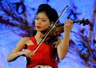 Violinist Vanessa-Mae performs during the opening night gala for Mandarin Oriental, in Las Vegas, Nevada, on December 4, 2009
