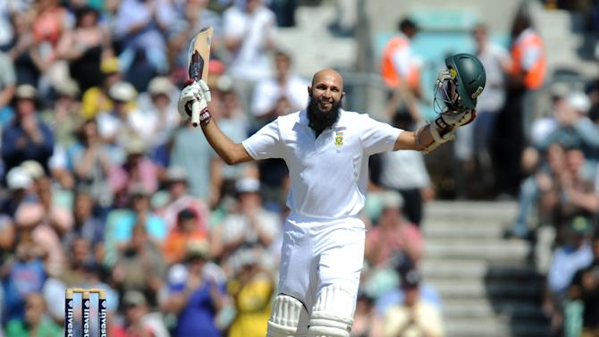 Hashim Amla, pictured, scored 90 not out in a century partnership with Jacques Kallis (84)