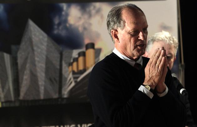FILE - In this Saturday, April 14, 2012, file photo, Robert Ballard, professor of oceanography at the University of Rhode Island, pauses while speaking to the media at the Titanic Belfast Building, in