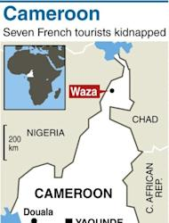 Map locating Waza in northern Cameroon, where a family of French tourists was kidnapped
