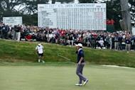 Webb Simpson of the United States waves to the gallery on the 18th green after a two-under par 68 during the third round of the 112th US Open at The Olympic Club on June 16, 2012 in San Francisco, California. Simpson won the 112th US Open golf championship, firing a final-round 68 for a one-stroke victory in the second major of the year
