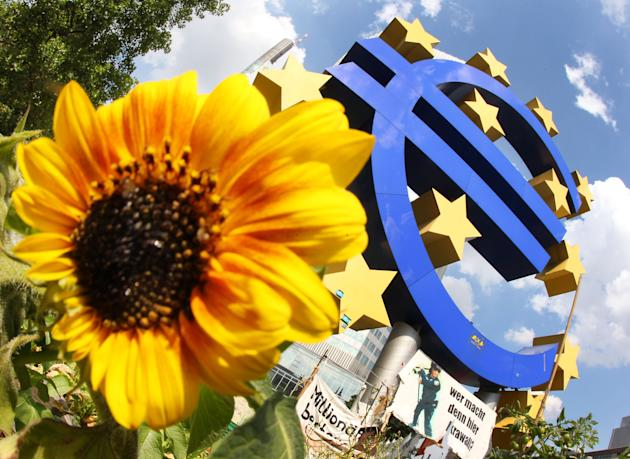 FILE - The July 5, 2012 file photo shows a sunflower sitting in front of the Euro sculpture in Frankfurt, Germany. A closely-watched survey has found business activity across the 18-country eurozone r