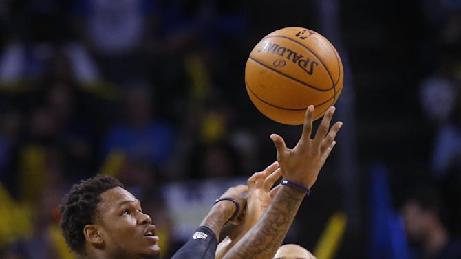 Sacramento Kings guard Ben McLemore (16) reaches for the ball in front of Oklahoma City Thunder guard Derek Fisher (6) in the fourth quarter of an NBA basketball game in Oklahoma City, Sunday, Jan. 19, 2014. Oklahoma City won 108-93