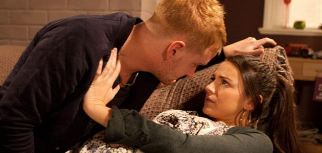Unwelcome advances: Tina pushes Gary away in Corrie (Credit: ITV)