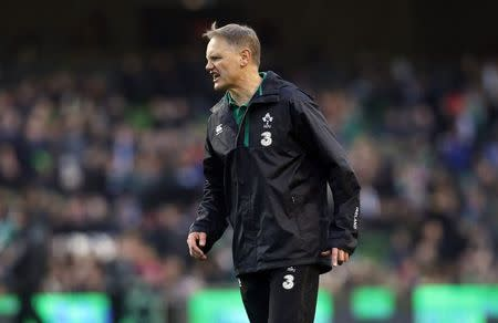 Ireland coach Joe Schmidt reacts against France during their Six Nations rugby union match at the Aviva stadium in Dublin