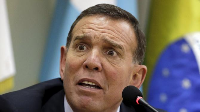 Napout speaks during a news conference at the CONMEBOL headquarters in Luque
