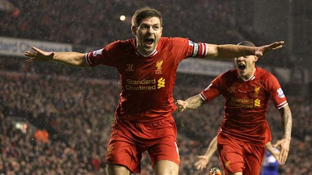 Liverpool's Steven Gerrard celebrates scoring the first goal of the game with a header