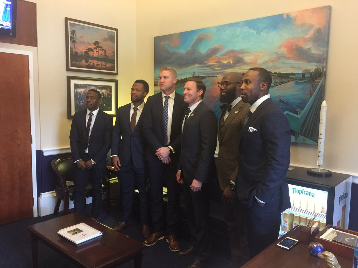 The five NFL players met with Rep. Patrick Murphy (D-Fla.) on Tuesday. (Jim Trotter Twitter)