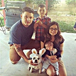 pregnant cancer woman save son -Yesenia Ruiz-Rojo with her husband, stepson and baby Luke this Easter at her family's home in California.