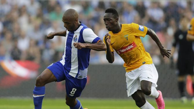 Porto's Brahimi fights for the ball with Estoril's Gerso during their Portuguese Premier League soccer match at Dragao stadium in Porto